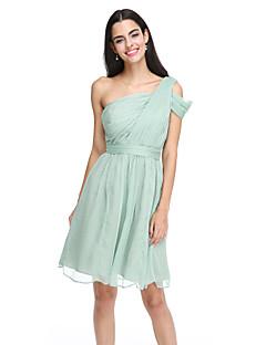 2017 Lanting Bride® Knee-length Chiffon Elegant Bridesmaid Dress - A-line One Shoulder with Sash