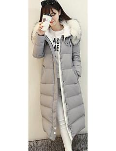 Damen Daunen Mantel,Standard Einfach Lässig/Alltäglich Solide-Polyester Weiße Entendaunen Langarm Schwarz Grau