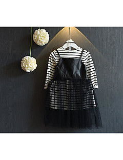 Girl's Casual/Daily Striped Blouse / Overall & Jumpsuit / Clothing SetCotton Spring / Fall Black