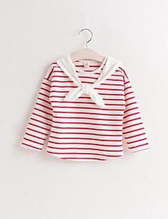 Mädchen T-Shirt-Lässig/Alltäglich Gestreift Baumwolle Herbst / Frühling Blau / Rot