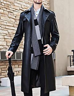 Muži Jednobarevné Běžné/Denní / Velké velikosti Jednoduché Trenčkot-Polyester Dlouhý rukáv Černá
