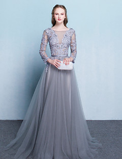 A-line Mother of the Bride Dress Sweep / Brush Train Long Sleeve Tulle with Sash / Ribbon