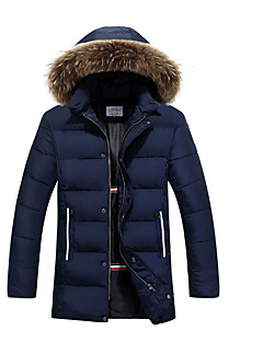 Pánské Standardní Dlouhý kabát Jednoduché Běžné/Denní Jednobarevné-Kabát Polyester Polypropylen Dlouhý rukáv Kapuce