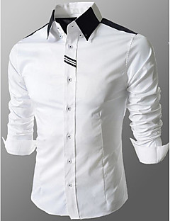 Men's Formal Work Going out Simple Cute Street chic All Seasons Shirt,Solid Color Block Shirt Collar Long Sleeves Cotton Medium