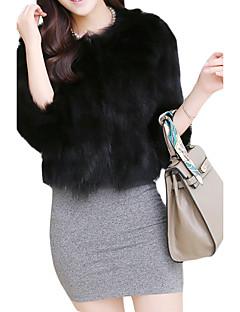 Feminino Casaco de Pêlo Casual Simples Inverno,Sólido Rosa / Branco / Preto / Cinza Raiom Decote Redondo-Manga ¾ Grossa