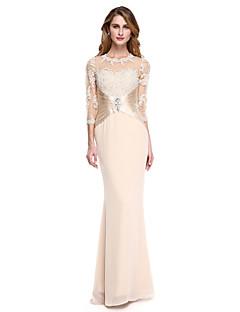 2017 Lanting Bride® Trumpet / Mermaid Mother of the Bride Dress - See Through Floor-length 3/4 Length Sleeve Chiffon / Stretch Satin