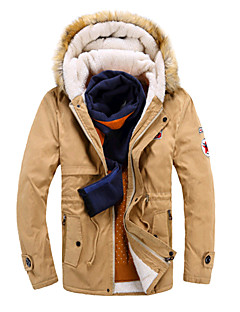Men's Long Padded Coat,Simple / Active Casual/Daily / Formal Color Block-Cotton Cotton Long Sleeve Shirt CollarBlue / Red / Beige / Black