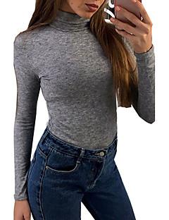 Feminino Camiseta Casual Sensual Outono / Inverno,Sólido Rosa / Preto / Cinza Algodão Gola Alta Manga Longa Média