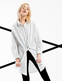 Women's Going out / Casual/Daily / Beach Simple / Street chic Spring / Fall Shirt,Solid Shirt Collar Long Sleeve White Cotton Medium
