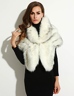 Women's Going out / Casual/Daily / Party/Cocktail Sexy / Simple Fur Coat,Solid Round Neck Sleeveless Fall /