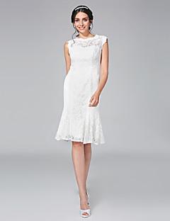 Lanting Bride® Pouzdrové Svatební šaty - Elegantní & moderní Malé bílé Ke kolenům Klenot Krajka s Krajka