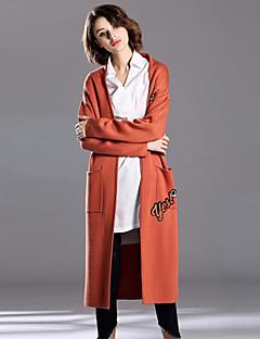Damen Stickerei Einfach Lässig/Alltäglich Mantel,Herbst / Winter Gekerbtes Revers Langarm Orange Mittel Wolle / Acryl
