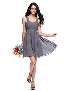 A-Line Straps Short / Mini Chiffon Bridesmaid Dress with Criss Cross Ruching by LAN TING BRIDE®