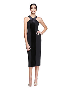 TS Couture® Prom  Cocktail Party Dress Sheath / Column Halter Tea-length Matte Satin / Velvet Chiffon