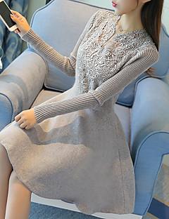 Trapèze Robe Femme Décontracté / Quotidien Mignon,Couleur Pleine Col en V Au dessus du genou Manches Longues Noir / Gris Coton / Polyester
