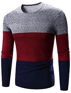 Herre Simpel Casual/hverdag Normal Pullover Farveblok,Rød Rund hals Langærmet Polyester Forår Medium Mikroelastisk