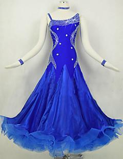 Dança de Salão Vestidos Mulheres Actuação Elastano / Organza Cristal/Strass / Recortes 1 Peça Manga Comprida Natural Vestidos S-XXL: 125cm