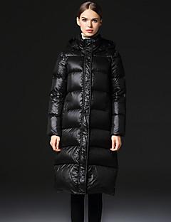 Damen Daunen Mantel,Lang Einfach Lässig/Alltäglich / Übergröße Solide-Polyester Weiße Entendaunen Langarm Schwarz Mit Kapuze