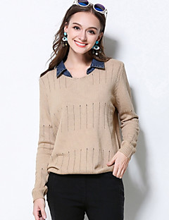 MEIDONGTAI Women's Casual/Daily Street chic Regular PulloverSolid Beige / Black Peaked Lapel Long Sleeve Acrylic Winter Thick Stretchy