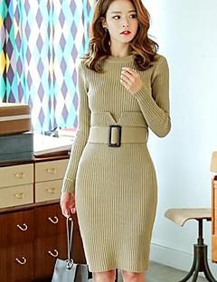 Damen Strickware Kleid-Lässig/Alltäglich Einfach Solide Rundhalsausschnitt Übers Knie Langarm Schwarz Braun Grün Baumwolle HerbstMittlere