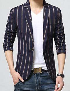 Men's Plus Size / Casual/Daily / Work Simple Spring / Fall BlazerColor Block Shirt Collar Long Sleeve Gray / OrangeCotton / Acrylic k346