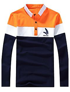 Bomull Blå / Grønn Medium Langermet,Skjortekrage Polo Ensfarget / Stripet Vår / Høst Vintage / Enkel / GatemoteFritid/hverdag /