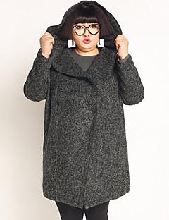 Casual/hétköznapi / Nagy méretek Egyszerű Téli-Női Kabát,Egyszínű Kapucni Hosszú ujj Szürke Gyapjú / Poliészter