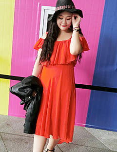 Damen Chiffon Kleid-Lässig/Alltäglich / Übergröße Einfach Solide Bateau Midi Kurzarm Orange Baumwolle Sommer Mittlere Hüfthöhe