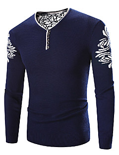 Herre Simpel Plusstørrelser Normal Pullover Trykt mønster,Blå V-hals Langærmet Polyester Vinter Tyk Mikroelastisk