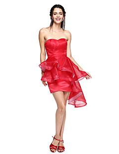 Balkjole Kæreste Assymetrisk Organza Cocktailparty Bal Skolebal Kjole med Kvast(e) ved TS Couture®
