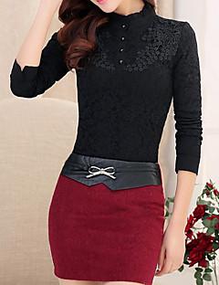 Mujer Vintage Casual/Diario Invierno Camisa,Cuello Alto Un Color Manga Larga Algodón / Poliéster Blanco / Beige / Negro Grueso