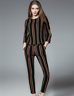 Women's Casual/Daily Simple Fall / Winter T-shirt Pant Suits,Striped Round Neck Long Sleeve Black Cotton