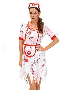 Cosplay Kostüme Party Kostüme Karriere Kostüme Krankenschwestern Fest/Feiertage Halloween Kostüme Weiß Druck Kleid Schürze Kopfbedeckung