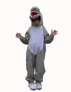 Kigurumi Pajamas Shark Leotard/Onesie Festival/Holiday Animal Sleepwear Halloween Gray Patchwork Terylene Cosplay Costumes For Kid