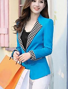 Polyester Blå Rosa Hvit Gul Medium Langermet Blazer Ensfarget Alle sesonger Dame