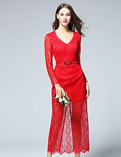 Dame Simpel Casual/hverdag Skede Kjole Ensfarvet,V-hals Midi Langærmet Rød Polyester Efterår Alm. taljede Uelastisk Medium