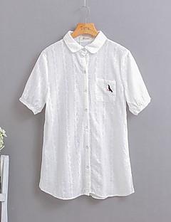 Dames Street chic Overhemd,Bruiloft Effen Overhemdkraag Korte mouw Wit Katoen