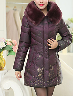 Women's Long Padded CoatSimple / Street chic Plus Size / Going out / Casual/Daily Print All Match Slim Fashion Long Sleeve Stand