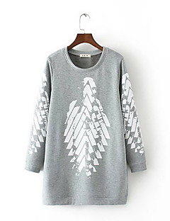 Women's Casual/Daily Sweatshirt Print Round Neck Micro-elastic Polyester Long Sleeve Fall