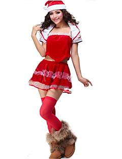 Festival/Feestdagen Halloween Kostuums Rood Effen Top / Rok / Shawl / Hoeden Kerstmis Vrouwelijk Polyester