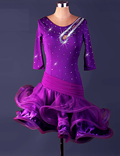 Dança Latina Vestidos Mulheres Actuação Elastano Organza Frufru 1 Peça Luva de comprimento de 3/4 Alto Vestido