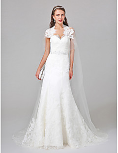 LAN TING BRIDE A-line Wedding Dress Two-Piece Watteau Train Queen Anne Tulle with Appliques Beading Lace