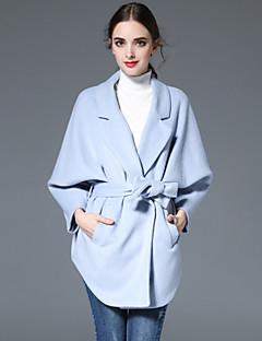 Casual/hétköznapi Egyszerű Őszi / Téli-Női Kabát,Egyszínű Hasított rever Hosszú ujj Kék Gyapjú
