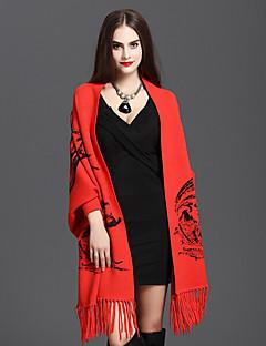Décontracté Coton / Mélange de Coton Femme Écharpe,Imprimé Rectangle,Rouge / Marron / Jaune / Gris / Orange