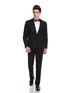 2017 Tuxedos Tailored Fit Notch Single Breasted Two-buttons Viscos/ Wool & Polyester Blended Solid 2 Pieces Black