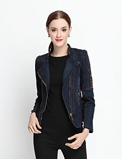 Damen Solide Einfach Lässig/Alltäglich Jeansjacken,Herbst / Winter Hemdkragen Langarm Blau Baumwolle