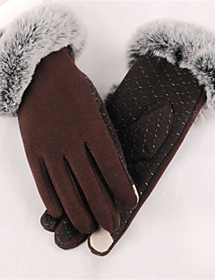Women Polyester Fingertips Wrist Length,Solid Casual Winter