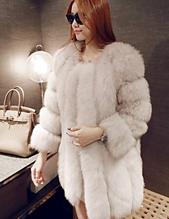Women's Casual/Daily Simple Fur Coat,Solid Long Sleeve Pink / Red / White / Black Fox Fur