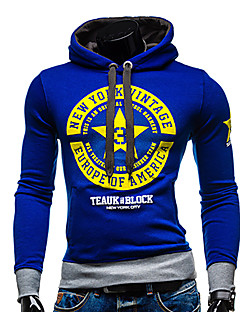 Men's Casual/Daily Active Simple Hoodie Letter Micro-elastic Polyester Long Sleeve Fall Winter