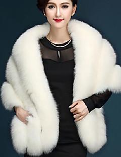 女性 カジュアル/普段着 冬 ソリッド ファーコート,シンプル Vネック ピンク / ホワイト / ブラック / グレイ フォックスファー 七部袖